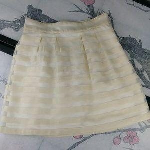 Ann Taylor Cream Striped A-Line Skirt Semi Sheer